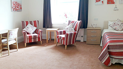 Newly refurbished double room at Thornton Hill care home
