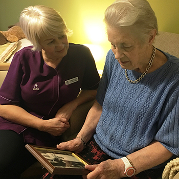 Buckingham Lodge resident Wendy Pattisson with Care Assistant Jayne Rea