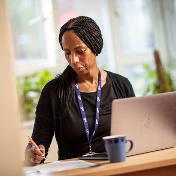 Colleague using a computer