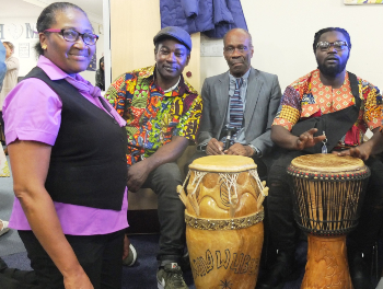 Waterside care home African drummers