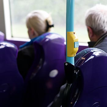People sat on a bus