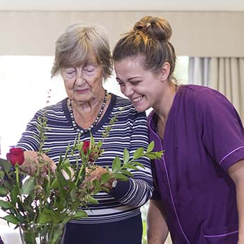 A carer and a resident