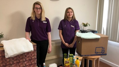 Apprentices at Landemere care home collect clothes for homeless charity