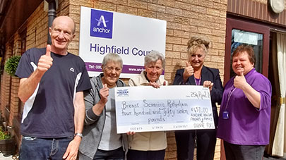 Highfield Court raise over £450 for local breast screening ward