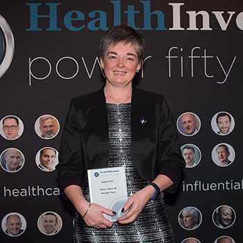 Jane Ashcroft with Health Investor Power 50 Grand Prix award