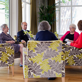 Residents enjoying conversation