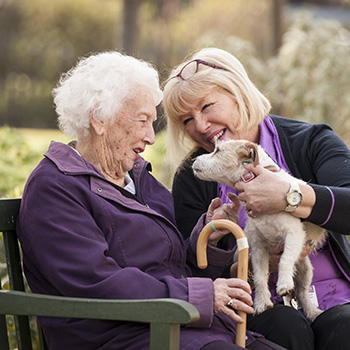 A resident with a carer and a dog