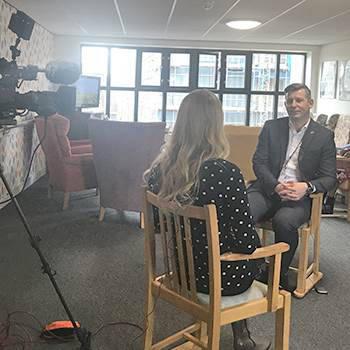 Rob Martin being interviewed