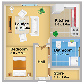 A typical studio apartment floorplan